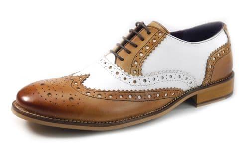 HX London 1649 Regent Lace Tan White Brogue Shoes